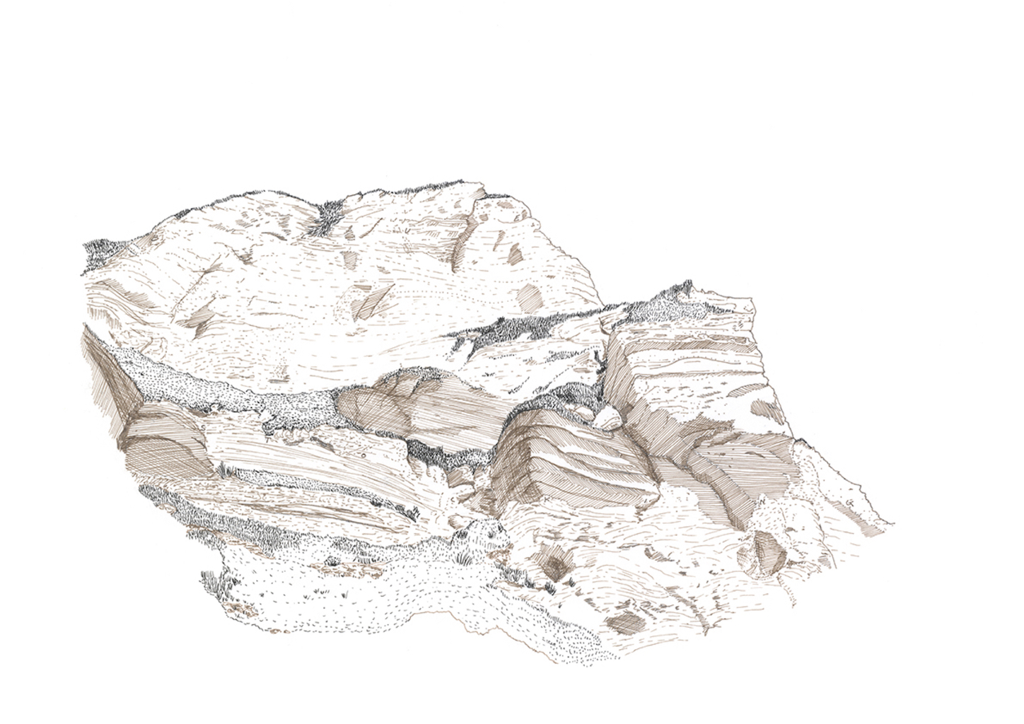 Coded Landscapes is a series of five ink drawings which depict the crumbling coastlines of the Jurassic coast. Hidden within the fine lines are messages to the audience which were inspired from historic, cultural and geological research of the East Devon district. The poetic statements underline the mystery of nature and our struggle to decipher and control it.