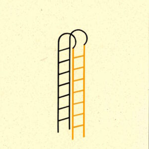 'Buddy Ladder' is part of an ongoing series of ladders made using recycled paper. Over the course of Lathwood's practice, ladders have been an important symbol of change, desire and aspiration. They are the quintessential tools to get over something, to conquer obstacles and shift a view point.