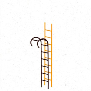 'Intimate Ladder' is part of an ongoing series of ladders made using recycled paper. Over the course of Lathwood's practice, ladders have been an important symbol of change, desire and aspiration. They are the quintessential tools to get over something, to conquer obstacles and shift a view point.