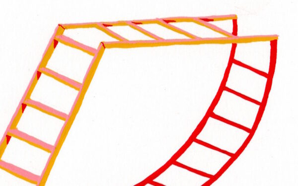 'Rubard Ice Cream Ladder' is a ladder drawn from imagination the title references its colours. Over the course of Lathwood's practice, ladders have been an important symbol of change, desire and aspiration. They are the quintessential tools to get over something, to conquer obstacles and shift a view point. During the Covid-19 lockdown she started a new series of gouache paintings of very small ladders on paper. The ladders were either drawn from imagination, observation or sent in by individuals also enthused by ladders.