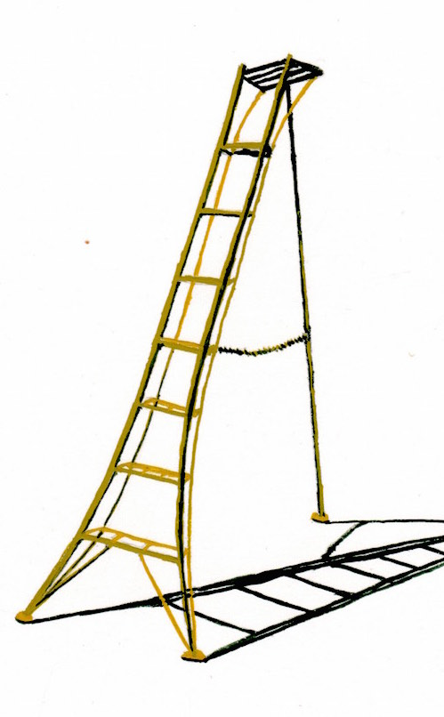 'Tripod Ladder' is the desire ladder of many gardening and farmer friends. Over the course of Lathwood's practice, ladders have been an important symbol of change, desire and aspiration. They are the quintessential tools to get over something, to conquer obstacles and shift a view point. During the first Covid-19 lockdown she started a new series of gouache paintings of very small ladders on paper. The ladders were either drawn from imagination, observation or sent in by individuals also enthused by ladders.